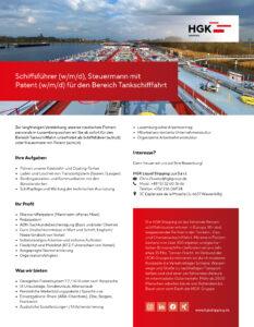Stellenanzeige Schiffsführer, Steuermann mit Patent in der Tankschifffahrt