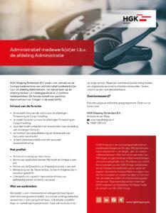 Administratief medewerk(st)er t.b.v. de afdeling Administratie Rotterdam